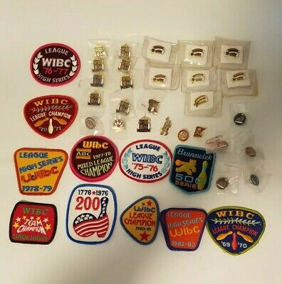 Vintage Drawer Lot of 40 Bowling Lapel Pins & Patches Brunswick 500 Club 250 200