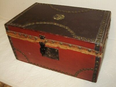 ANTIQUE DOCUMENT BOX RED AND BROWN LEATHER! VERY OLD!  late 1800's