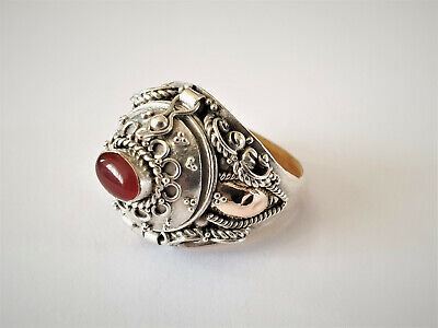 Antique Silver Poison Ring With Carnelian