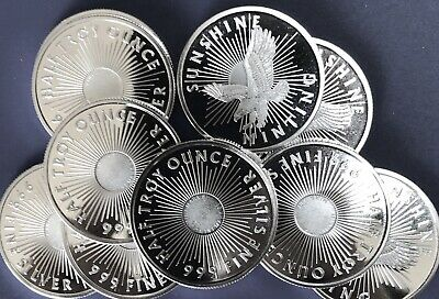 (10) 1/2 Troy Oz .999 Silver Rounds. Sunshine Mint; Brilliant Uncirculated