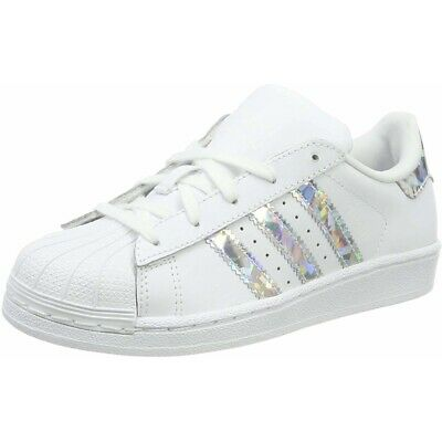 adidas Originals Superstar C White/Silver Leather Junior Trainers Shoes