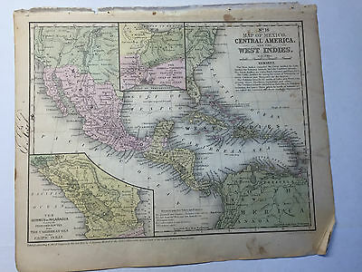 1852 Mitchell's School Atlas Map Of CENTRAL AMERICA, hand colored map