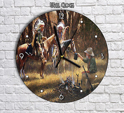 Indians And Explorer Native Americans - Round Wall Clock For Home Office Decor