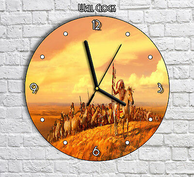 Native American Americans On a Horses - Round Wall Clock For Home Office Decor