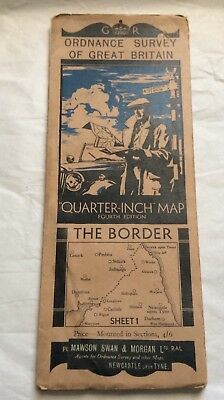 1935 Ordnance Survey Folding Quarter Inch Road Map The Border