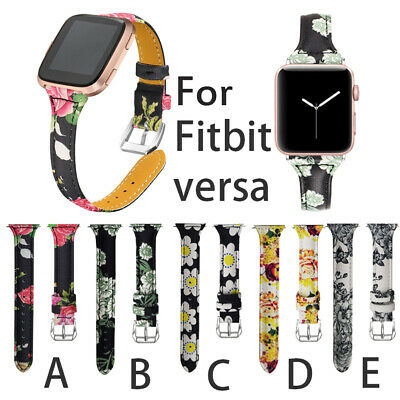 US Replacement Leather Wristband Bracelet Band Strap Belt For Fitbit Versa Watch