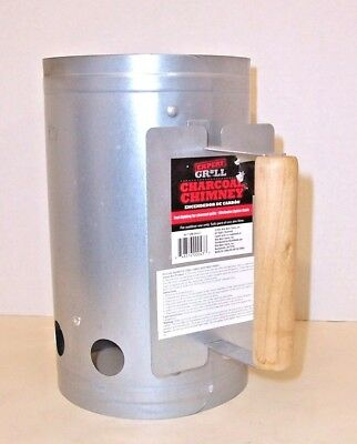 Charcoal Chimney Starter Lighter Grill BBQ w/ Wood Handle & Heat Shield NEW