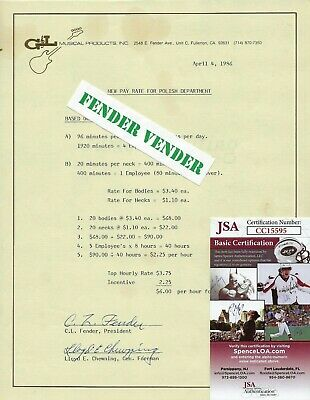 Leo Fender Signed 1986 G&L Letter To Employees Manufacturing Incentives JSA COA