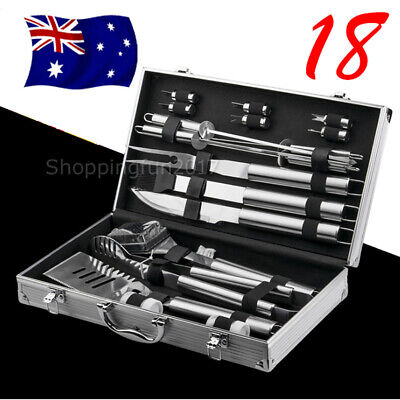 18pcs BBQ Tool Set Outdoor Stainless Steel Barbecue Cooking Utensil Grill Kit AU
