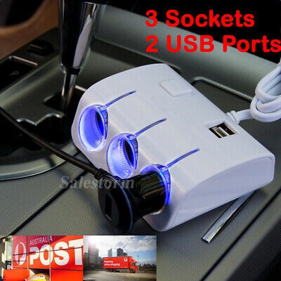 3 USB LCD Car Charger Cigarette Lighter Double Power Adapter Socket Splitter OZ