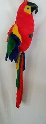 Vintage Stuffed Fabric Hanging Scarlet Macaw Parrot Plush On Perch