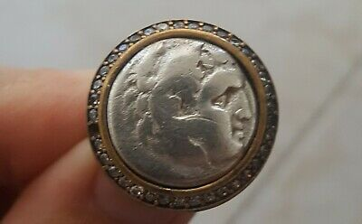 Alexander III the Great Authentic Ancient Silver Drachma Coin 925 Silver Ring