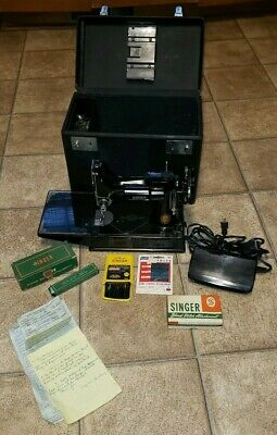 Vtg Antique Singer Portable Electric Sewing Machine 221-1 Case Attachment Lot