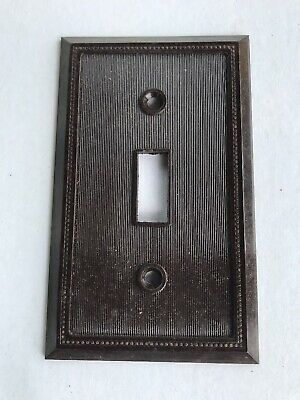 Pre-owned Bakelite Single Gang Toggle Light Switch Plate Brown Standard