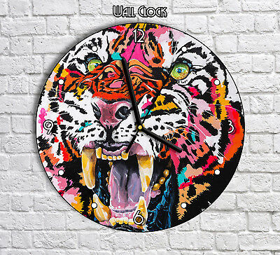 Bright Colors Colorful Tiger Artwork - Round Wall Clock For Home Office Decor