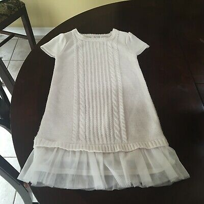 c21585835e4 THE CHILDRENS PLACE Girls Ivory Cable Knit Lace Hem Sweater Dress 5 - 6  Small S