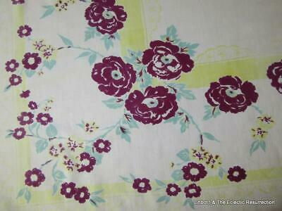 "1930s-1940s Printed Cotton Tablecloth Floral Burgundy Yellow Green 46"" x 56"""