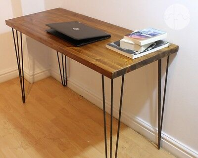 Rustic Industrial Wooden Desk Console Table Metal Hairpin Legs