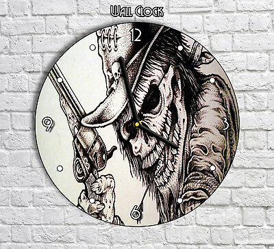The Dead Cowboy Skeleton Skull - Round Wall Clock For Home Office Decor