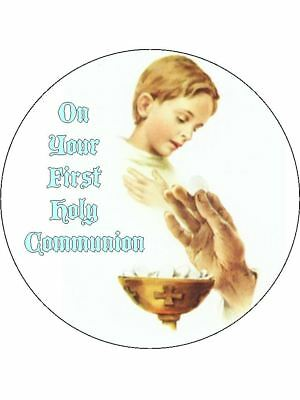 """Edible Round 7.5"""" Holy Communion  Cake Topper"""