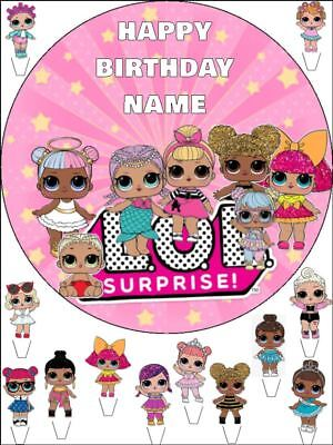 """Edible Round 7,5"""" Lol Dolls Birthday Cake Topper And 12 Standing Toppers"""