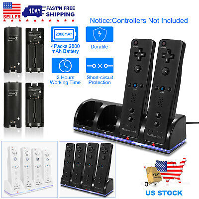 Rechargeable Battery Packs +4 or 2 Charger Charging Dock For Nintendo Wii Remote