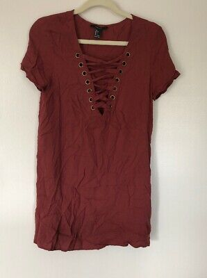 73a20937b52 Juniors Forever 21 Lace Up Front Detail Short Sleeve Rayon Dress - Size  Large