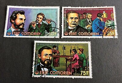 Comoros 1976 - 3 cancelled stamps 100 years telephone- Michel No. 288-290