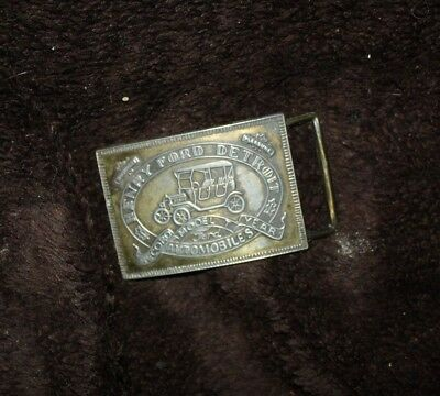 vintage  brass belt buckle  Henry Ford Detroit Record Model T Years