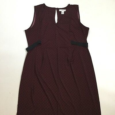 Motherhood Womens Size Large Sleeveless V Neck Maternity Dress Maroon and Black
