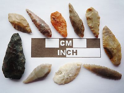 Neolithic Arrowheads, 10 x Leaf Style Artifacts - 4000BC - (R014)