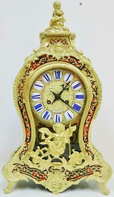 Antique French 8 Day Red Shell & Inlaid Boulle Bracket Clock Ormolu Mantel Clock