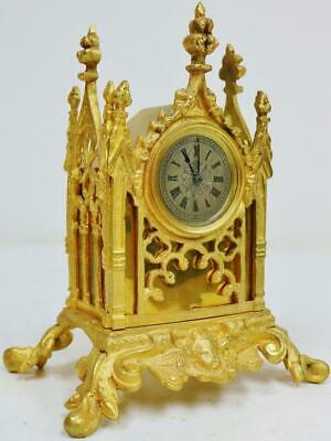 18THC Antique English Single Fusee Verge Watch Cathedral Mantel Carriage Clock