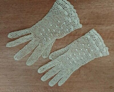 Vintage Edwardian Period Cotton Hand Made Lace Gloves Rare Prop Antique Net Old