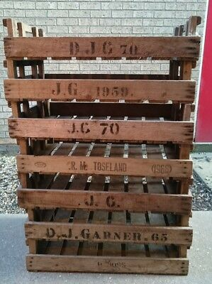 8X Vintage Wooden Potato Chitting Tray Bushel Boxes