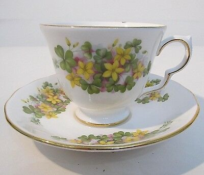 Queen Anne Fine Bone China Tea Cup & Saucer 3-Leaf Clover Yellow Flowers England