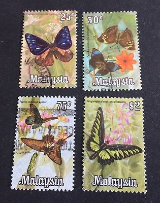 butterflys: 4 nice old used stamps Malaysia