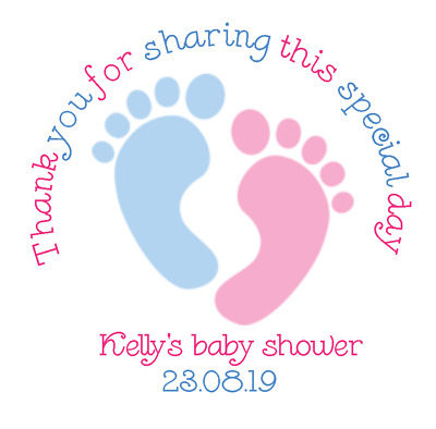 24 Personalised baby shower stickers