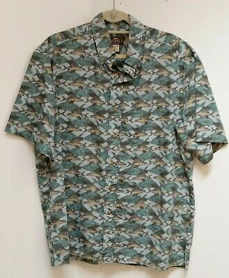 8ed4f4484 Kahala Mens Hawaiian Shirt Sz XL Blue/Green Fish Pattern S-Sleeve ~ HAWAII