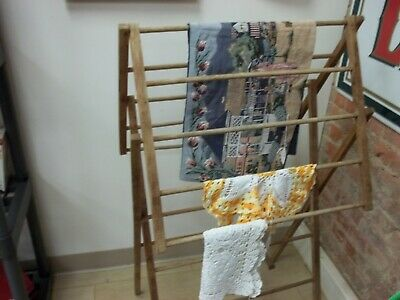 Antique Adjustable Wood Clothes Drying Rack - Excellent Conditon