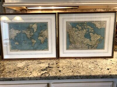 """""""Pair"""" of Decorative Framed / Matted Historic Old Map Pictures - One Price"""