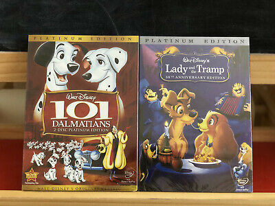 101 Dalmatians DVD, 2008, 2-Disc Set + Lady and the Tramp Walt Disney 2 DVDs