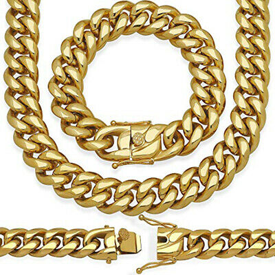 18mm Miami Cuban Link Bracelet 8'' & Chain 20'' 18k Gold Plated Stainless Steel