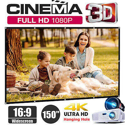 Foldable 150'' Portable Theater Projector Screen 16:9 HD Hook Outdoor/Indoor