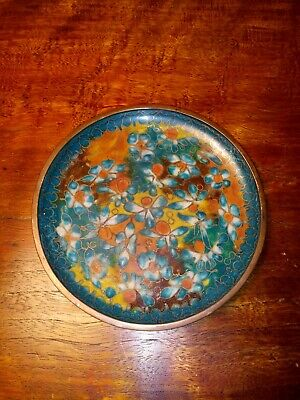 Antique Chinese Cloisonne Brass Floral Plate Qing Dynasty 19th Century