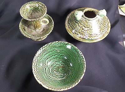 Chinese Tang Dyn. Matching Buddhist Lotus Blossom Set: Oil Lamp, Bowl & Vase!!