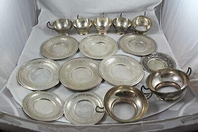 Lot of Antique Middle Eastern Islamic Persian Silver Plates Dishes Cups