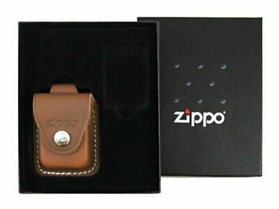 Zippo Belt Loop Brown Leather Pouch Gift Set for Lighter