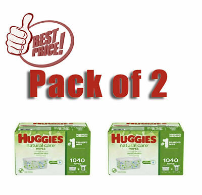 Pack of 2 Huggies Natural Care Baby Wipe Refill, Fragrance Free (1,040 ct.)