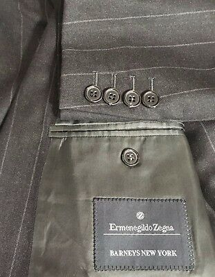 Ermenegildo Zegna Black Pin Stripe Wool Suit Pleat Dbl Breasted Dbl Vent 54L Men